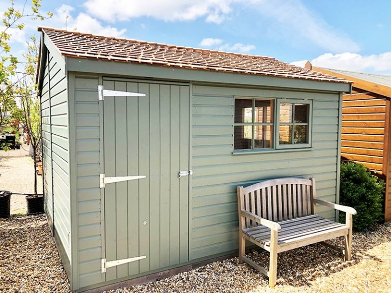 Brighton's 3.0 x 3.6m Superior Shed Painted in Farrow & Ball Green Smoke