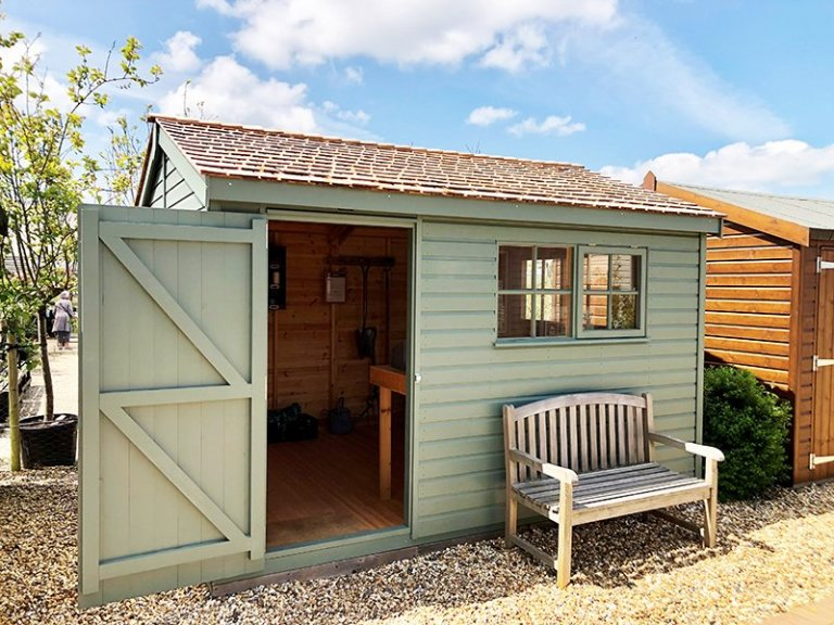 3.0 x 3.6m Superior Shed at Brighton Painted in Farrow & Ball Green Smoke