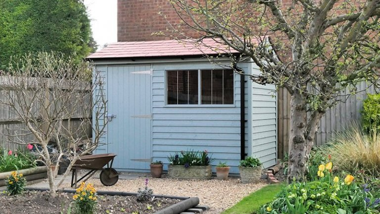 1.8 x 3.0m Superior Shed in Exterior Verdigris Paint With Terracotta Slate Effect Tiles