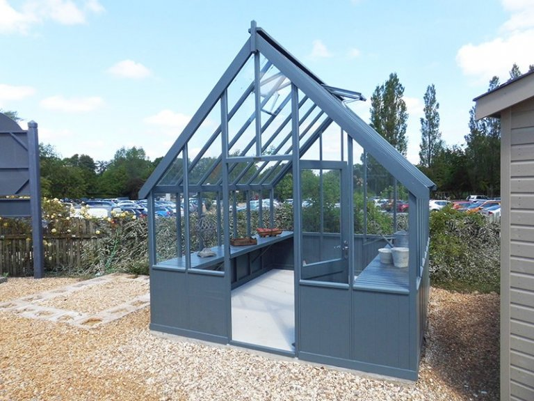 Burford's 3.0 x 3.6m Greenhouse painted in Farrow & Ball Down Pipe