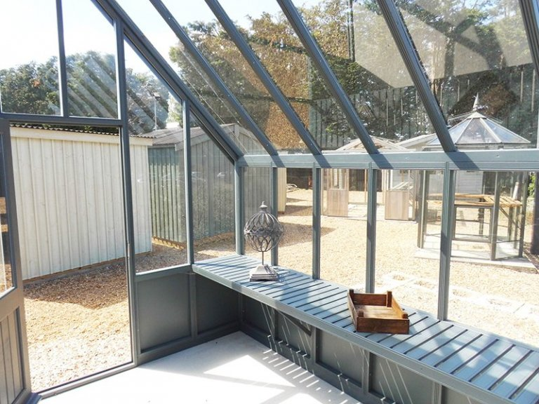 3.0 x 3.6m Greenhouse painted in Farrow & Ball Down Pipe