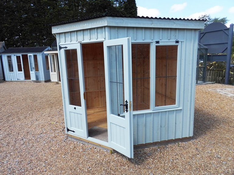 2.4 x 2.4m Orford National Trust Summerhouse painted in Disraeli Green