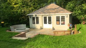 5.4 x 6m Garden Room in Farrow & Ball French Gray & Pointing with weathered cedar shingles