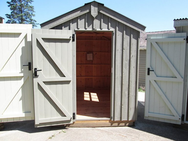 Sunningdale's 1.8 x 3.0m Peckover National Trust Shed painted in Wades Lantern