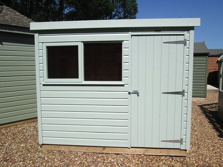 Sunningdale's 1.8 x 2.4m Classic Shed painted in Seagrass