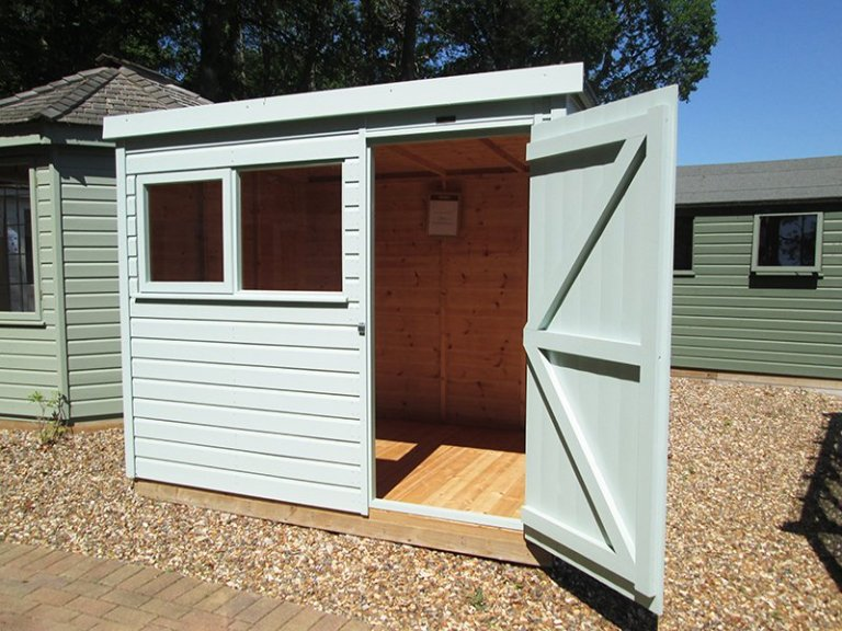 1.8 x 2.4m Classic Shed painted in Seagrass at Sunningdale