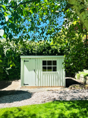 1.8 x 3.0m Oxburgh National Trust Shed painted in Disraeli Green with pent roof design