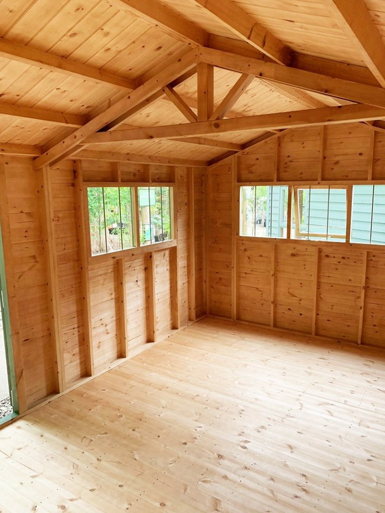 Inside Trentham's 3.0 x 4.8m Superior Shed treated with a Green Sikkens wood stain
