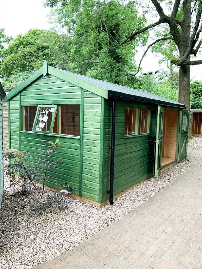 3.0 x 4.8m Superior Shed at Trentham treated with a Green Sikkens wood stain
