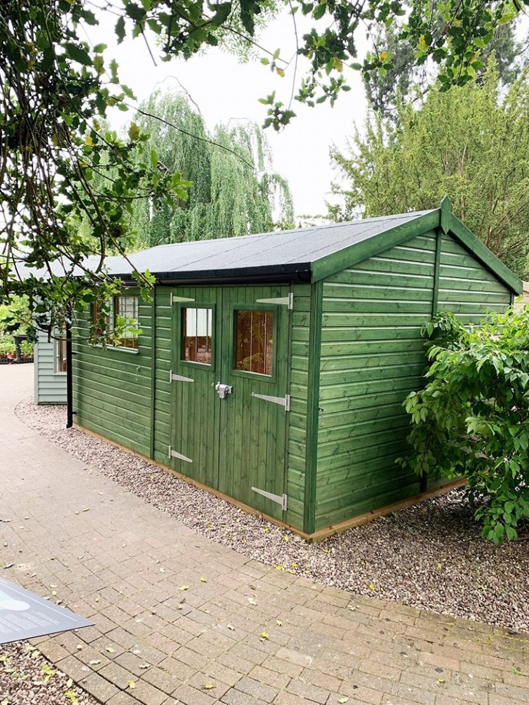 3.0 x 4.8m Superior Shed treated with a Green Sikkens wood stain at Trentham