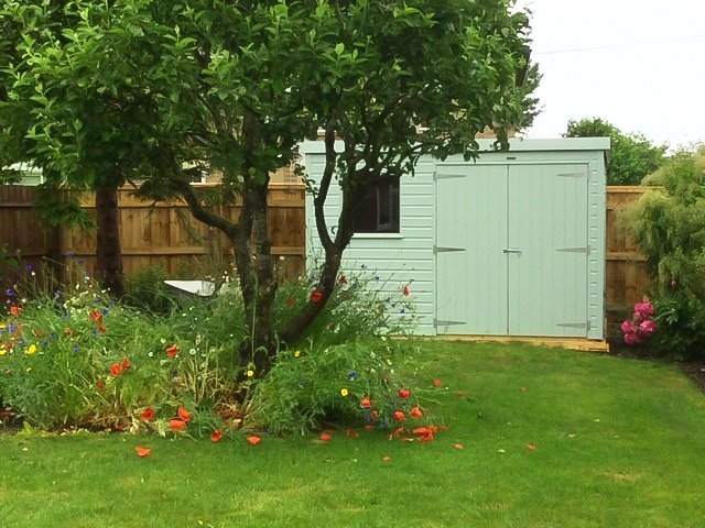2.4 x 3.0m Classic Shed painted in Seagrass with pent roof design