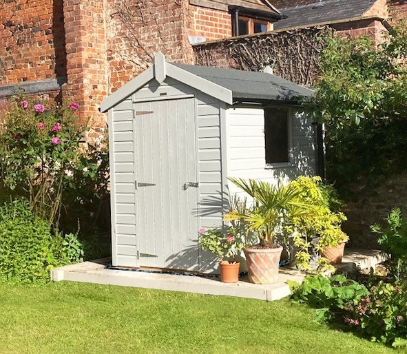 1.5 x 2.1m Classic Shed painted in Classic Smoke with Apex Roof Design