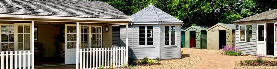 Pavilion Garden Room, Wiveton Summerhouse, Sales Office & Classic Sheds at our St Albans show centre