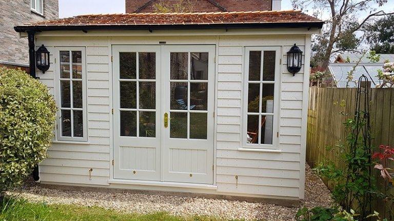 3.1 x 3.6m Apex Garden Room painted in Exterior Cream