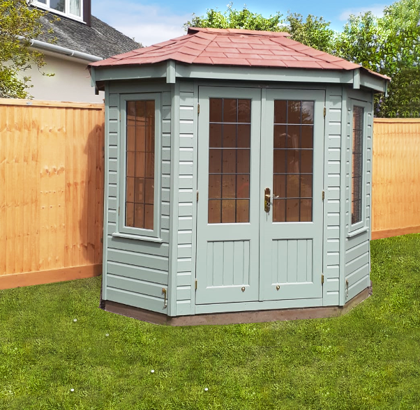1.8 x 2.5m Wiveton Summerhouse painted in Exterior Sage with terracotta roof tiles