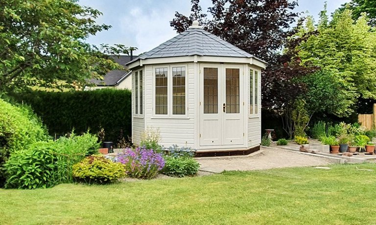 3.0 x 3.0m Wiveton Summerhouse painted in Exterior Twine with leaded windows