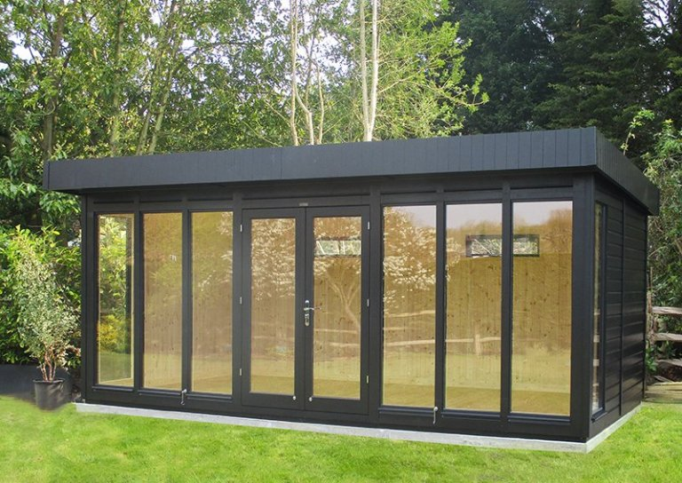 3.0 x 5.4m Salthouse Studio in Exterior Black with nautral matchboard interior