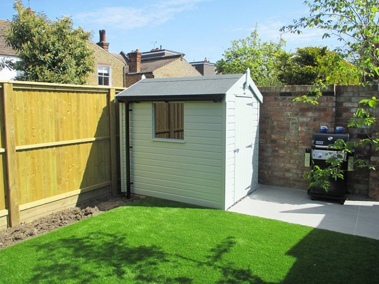 1.5 x 2.1m Classic Shed painted in Classic Seagrass with apex roof design