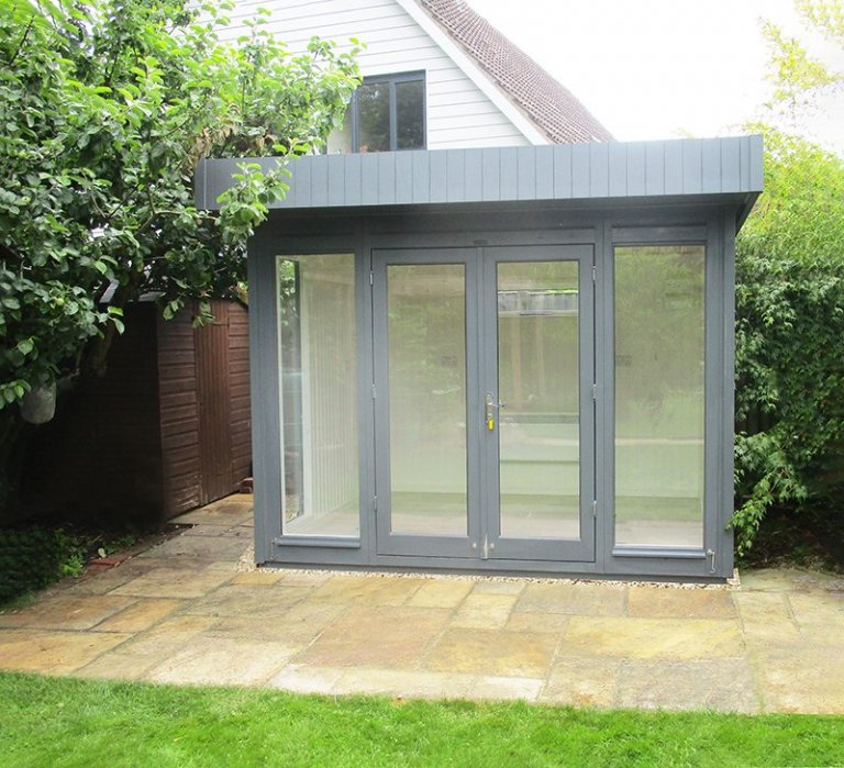 2.4 x 3.0m Salthouse Studio painted in Farrow & Ball Down Pipe with stylish pent roof design