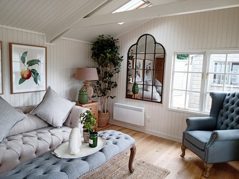 Interior of Sevenoaks' 5.4 x 4.8m Pavilion Garden Room with Farrow & Ball Slipper Satin on the walls and Pointing on the ceiling