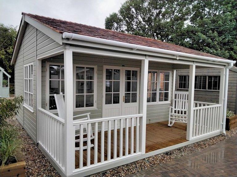 5.4 x 4.8m Pavilion Garden Room at Sevenoaks painted in Farrow & Ball French Gray & Slipper Satin
