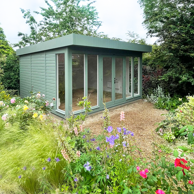 4.2 x 4.2m Salthouse Studio painted in Exterior Sage with stylish pent roof design