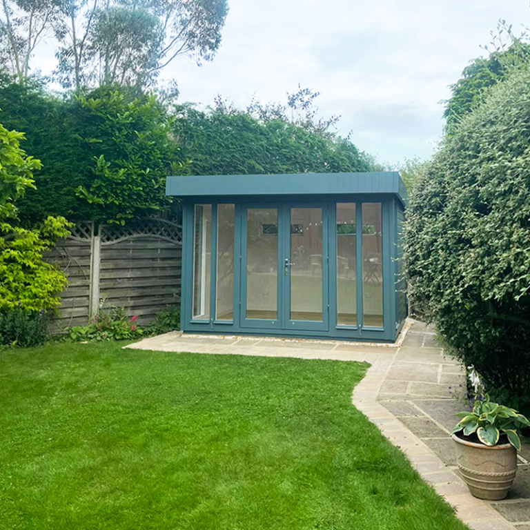 2.7 x 3.3m Salthouse Studio painted in Exterior Slate with double doors and two fanlight windows