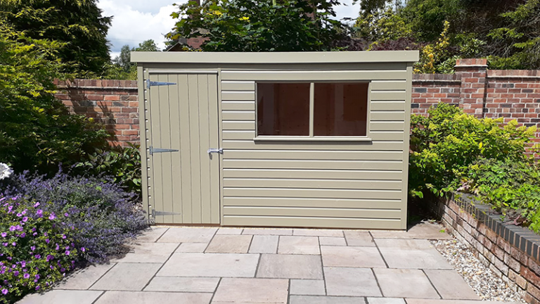 1.8 x 3.0m Classic Shed painted in Classic Stone with pent roof design