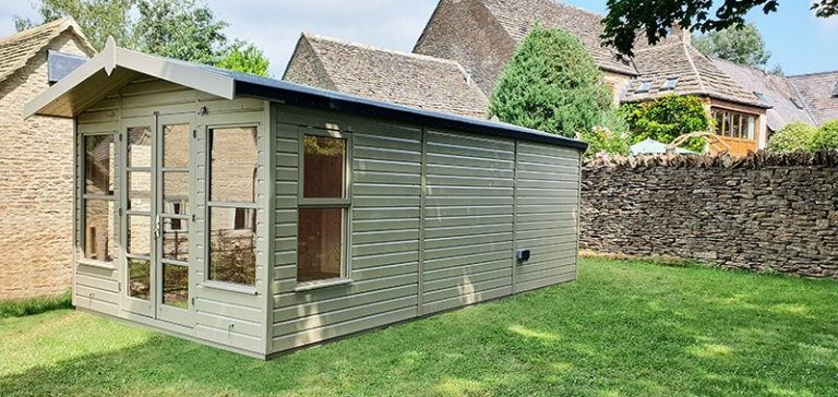 3.0 x 6.0m Blakeney Summerhouse in Exterior Taupe Paint