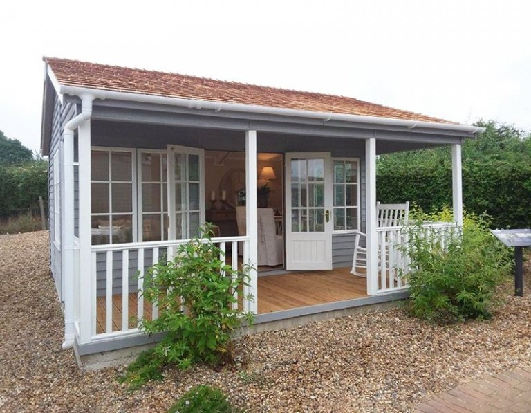 Brighton's 4.8 x 4.8m Pavilion Garden Room painted in Farrow & Ball Manor House Gray & Pointing