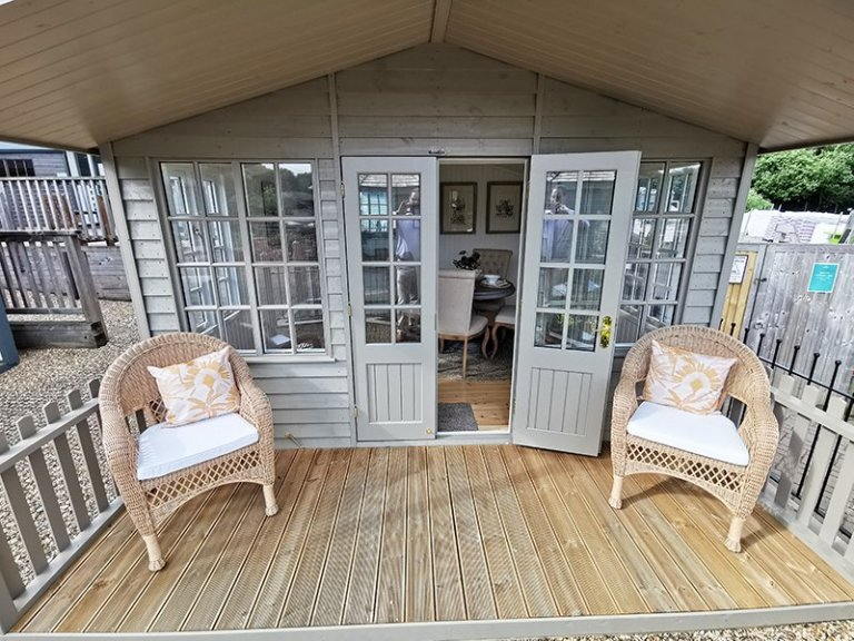 3.6 x 4.8m Morston Summerhouse Painted in Farrow & Ball Mouse's Back at Tunbridge Wells