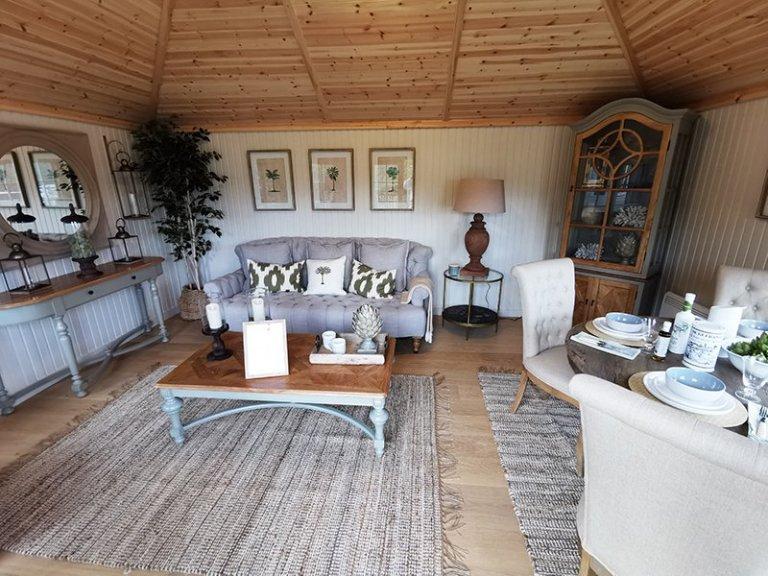 4.2 x 5.4m Garden Room at Tunbridge Wells with Farrow & Ball Shadow White painted matchboard walls and Shade Oak engineered flooring