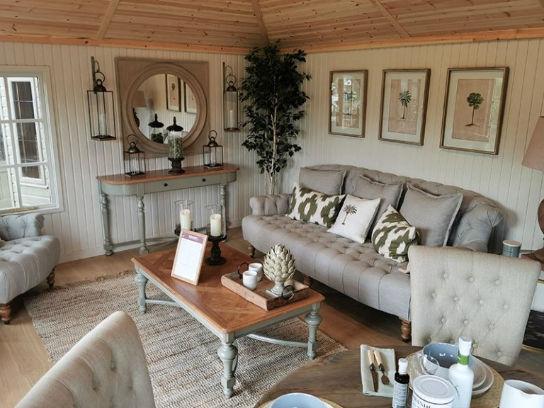 Inside Tunbridge Wells' 4.2 x 5.4m Garden Room with Farrow & Ball Shadow White painted matchboard walls and Shade Oak engineered flooring