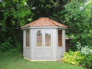 2.4 x 3.0m Classic Summerhouse painted in Classic Stone with leaded windows