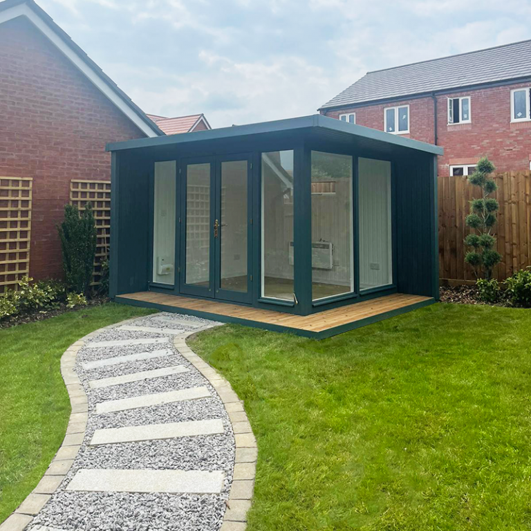 3.0 x 3.6m Holt Studio painted in Exterior Slate with stylish pent roof design