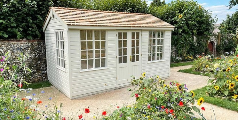 2.4 x 4.2m Holkham Summerhouse painted in Exterior Sandstone