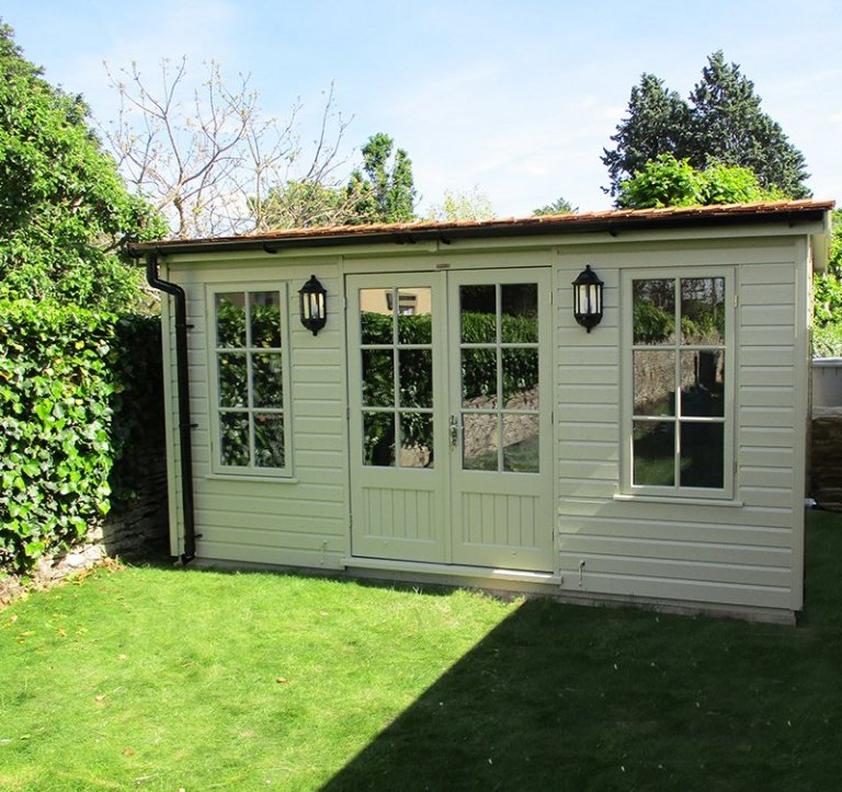 Non Standard Colour - 3.0 x 4.2m Apex Garden Room painted in Farrow & Ball Ball Green with Georgian Windows and Reduced Pitch Roof