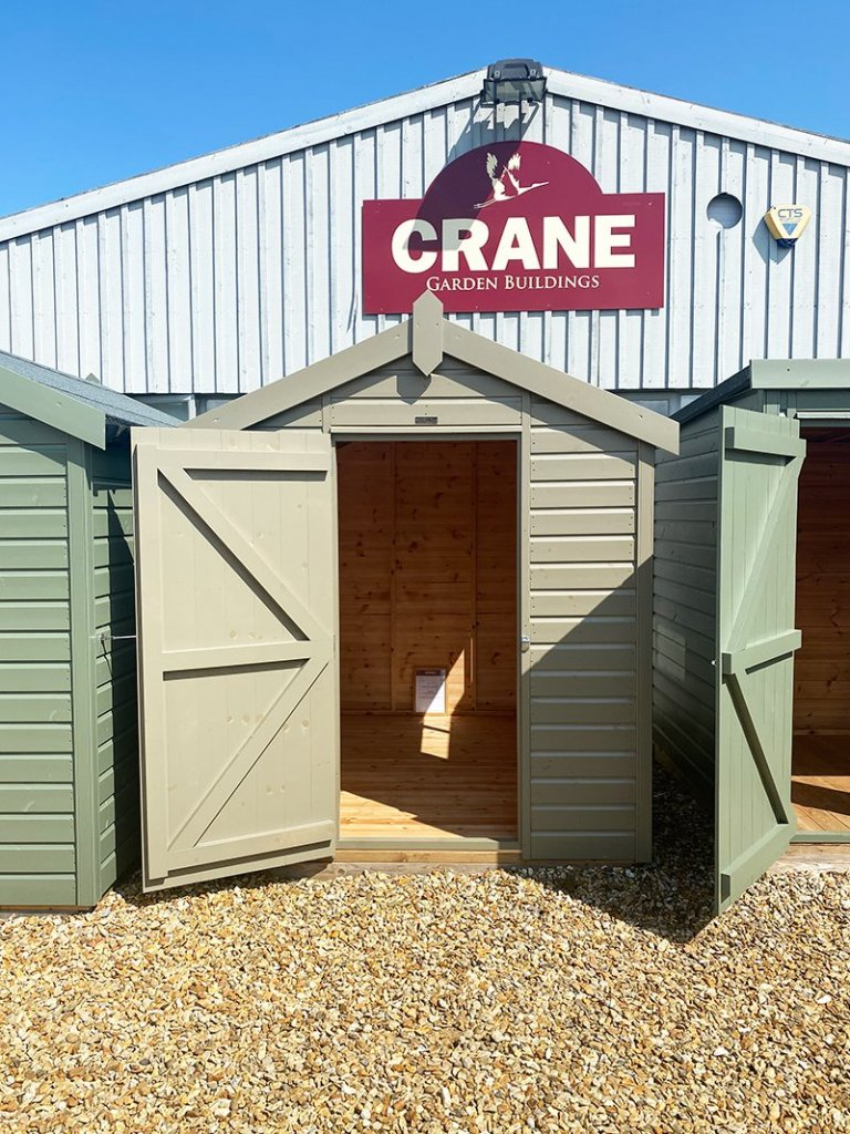 1.8 x 2.4m Classic Shed painted in Classic Stone at Narford