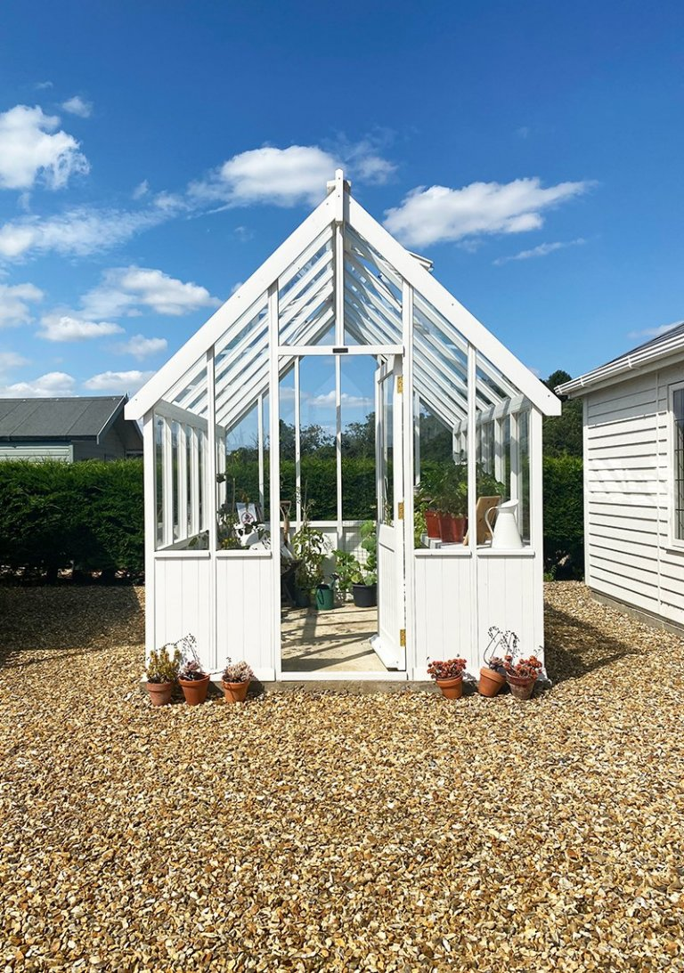 Narford's 2.4 x 3.0m Greenhouse painted in Exterior Ivory