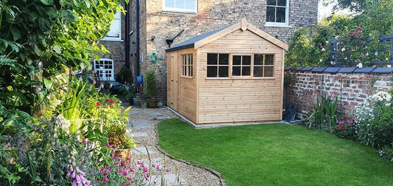 2.4 x 3.6m Superior Shed treated with a Light Oak Preservative with Georgian Windows