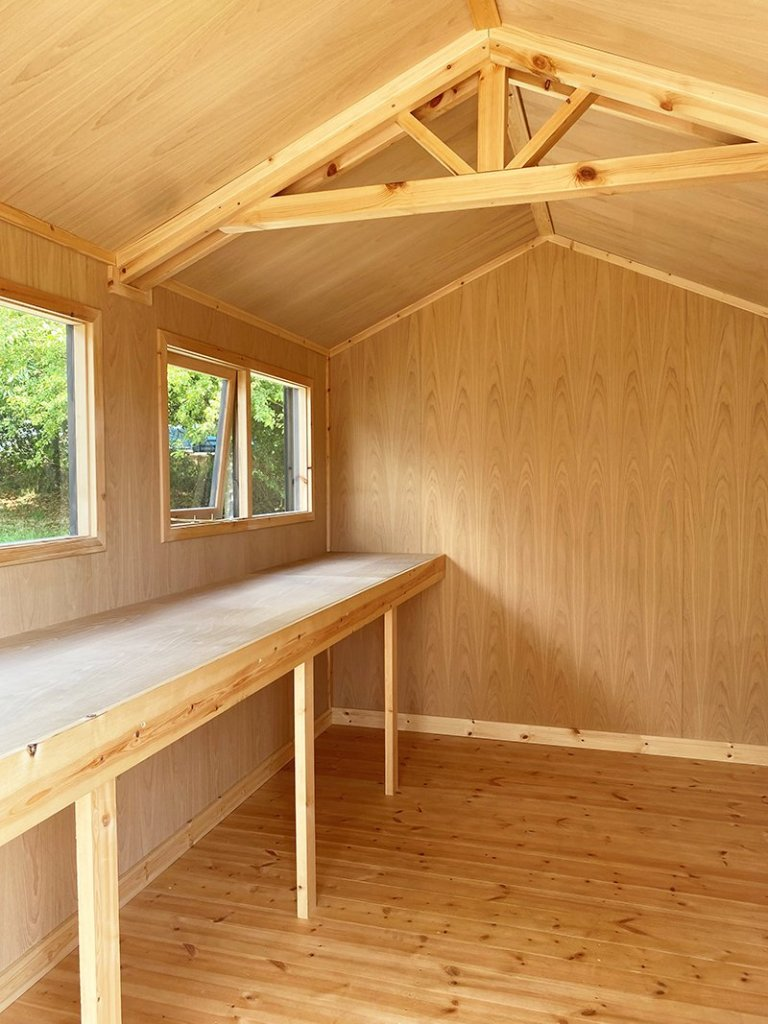 Inside Nottingham's 2.4 x 3.6m Superior Shed treated with a Grey Sikkens Wood Stain
