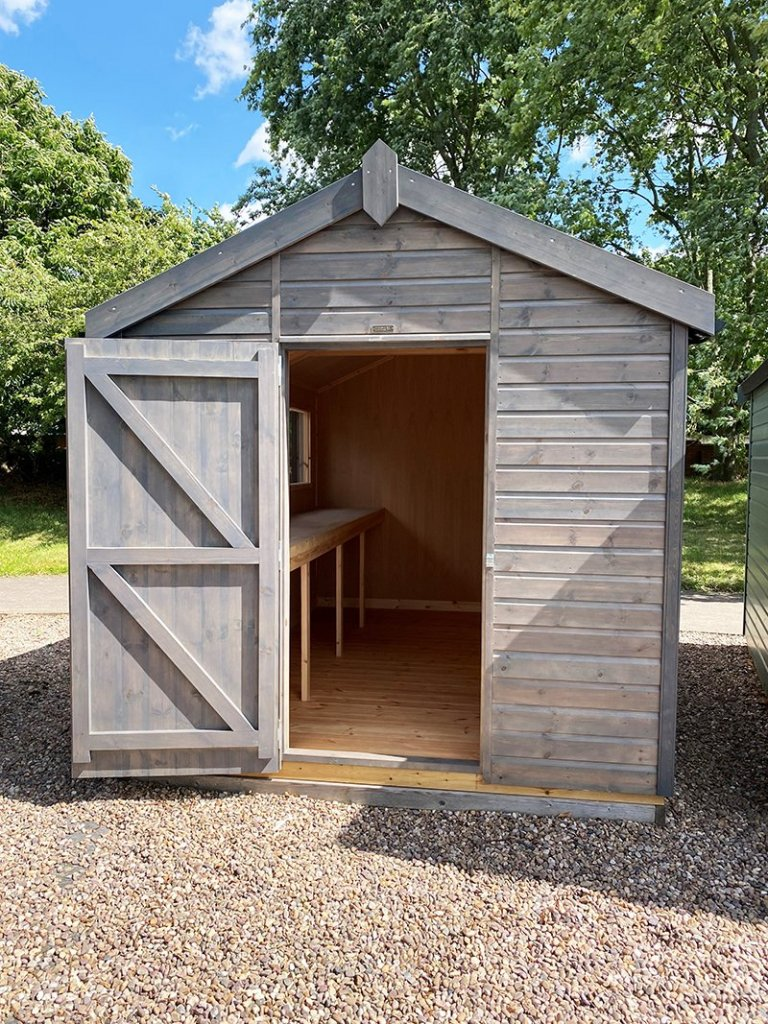 Nottingham's 2.4 x 3.6m Superior Shed treated with a Grey Sikkens Wood Stain