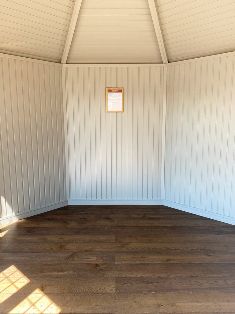 Interior of St Albans' 3.6 x 3.6m Wiveton Summerhouse painted in Manor House Gray