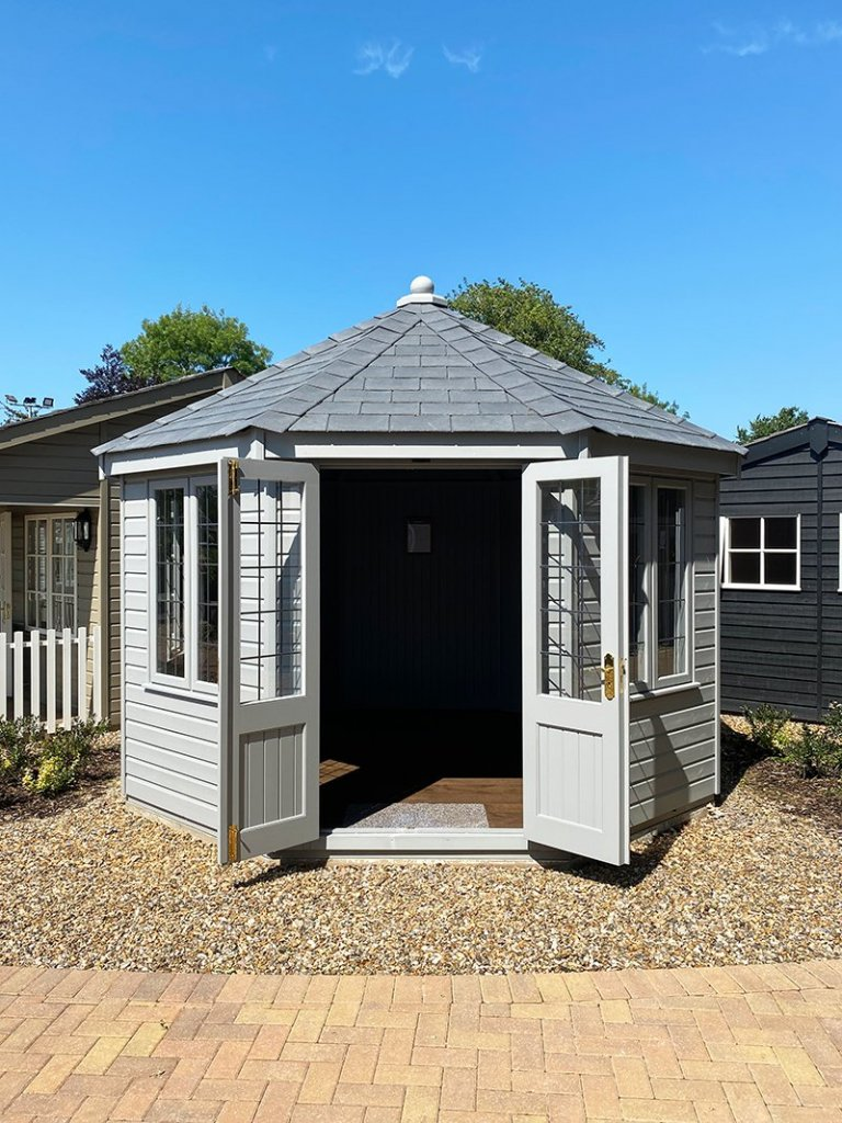 Exterior of St Albans' 3.6 x 3.6m Wiveton Summerhouse painted in Manor House Gray