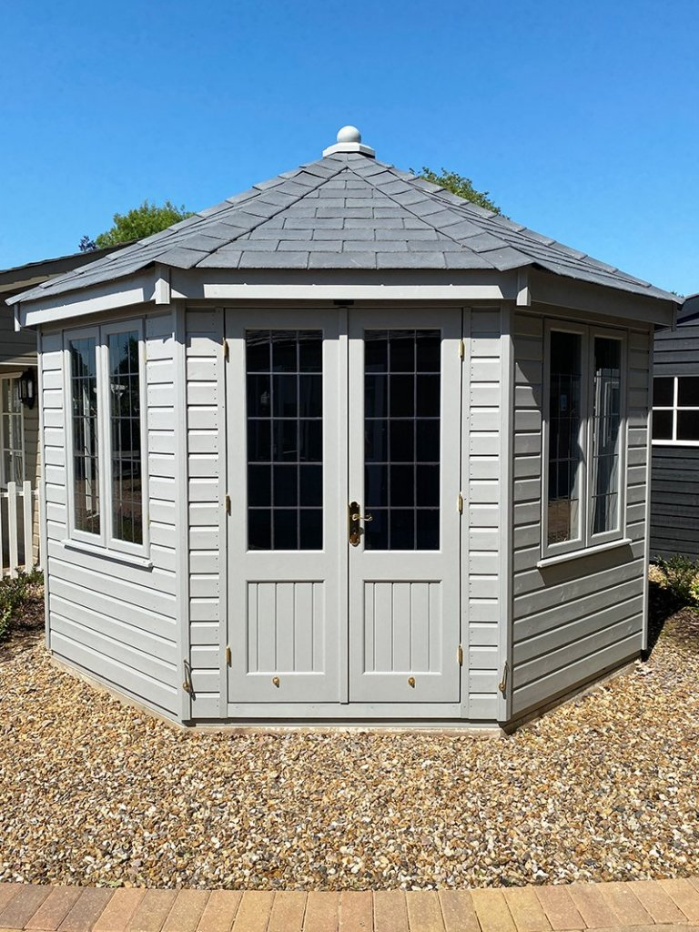 St Albans' 3.6 x 3.6m Wiveton Summerhouse painted in Manor House Gray