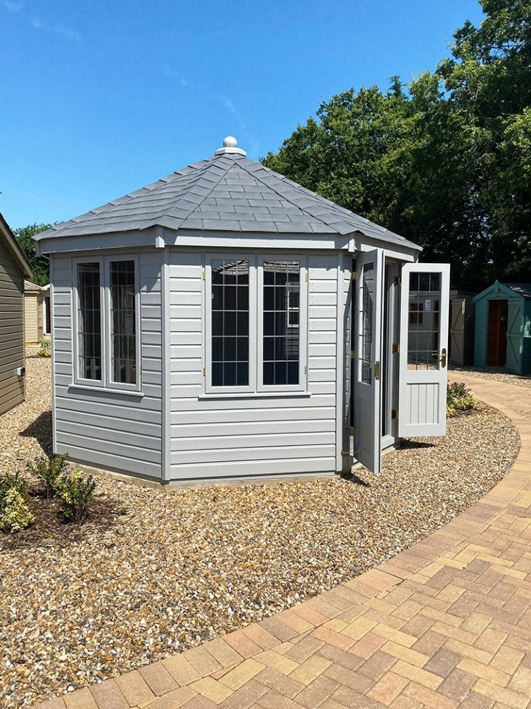 3.6 x 3.6m Wiveton Summerhouse at St Albans painted in Manor House Gray