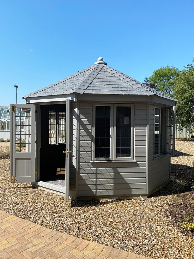3.6 x 3.6m Wiveton Summerhouse painted in Manor House Gray at St Albans