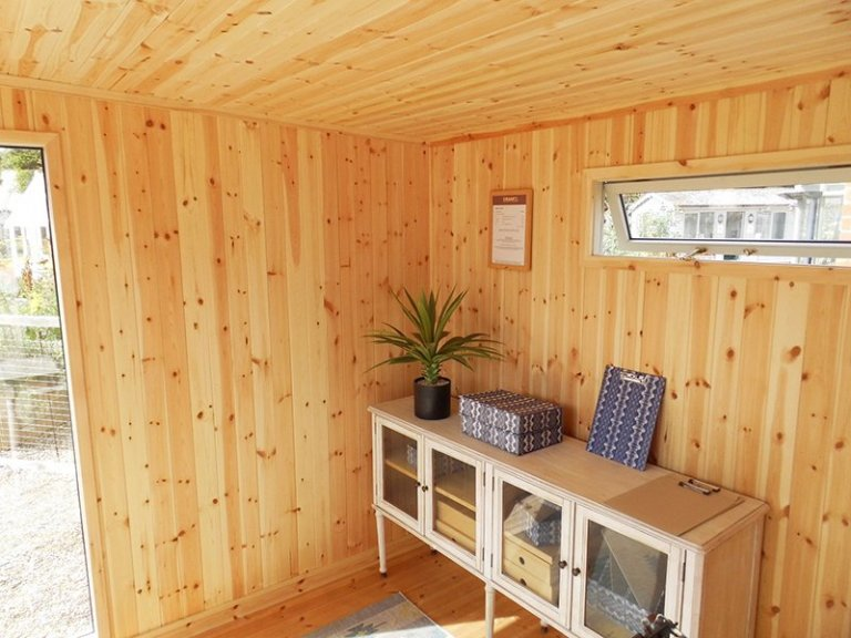Inside Burford's 2.4 x 3.0m Salthouse Studio painted in Exterior Sandstone