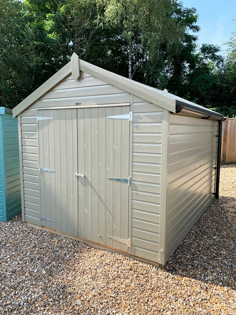 Cranleigh's 2.4 x 3.0m Classic Shed painted in Classic Stone