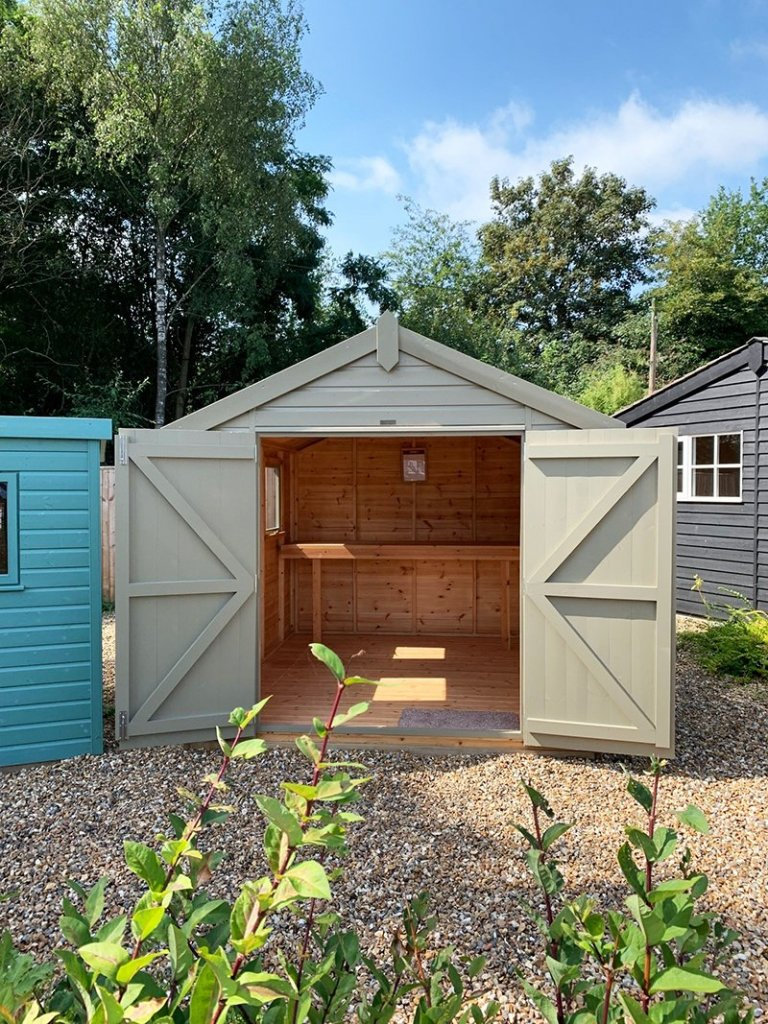 2.4 x 3.0m Classic Shed at Cranleigh painted in Classic Stone